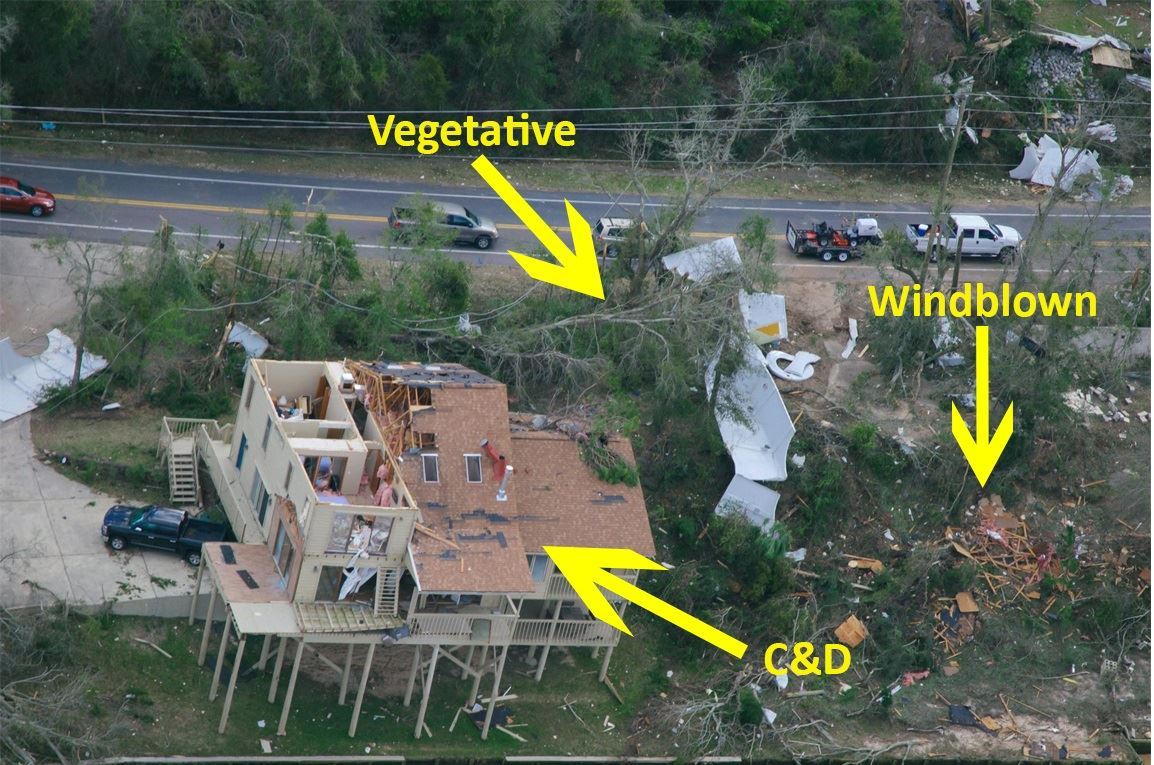 Path of tornado - Debris