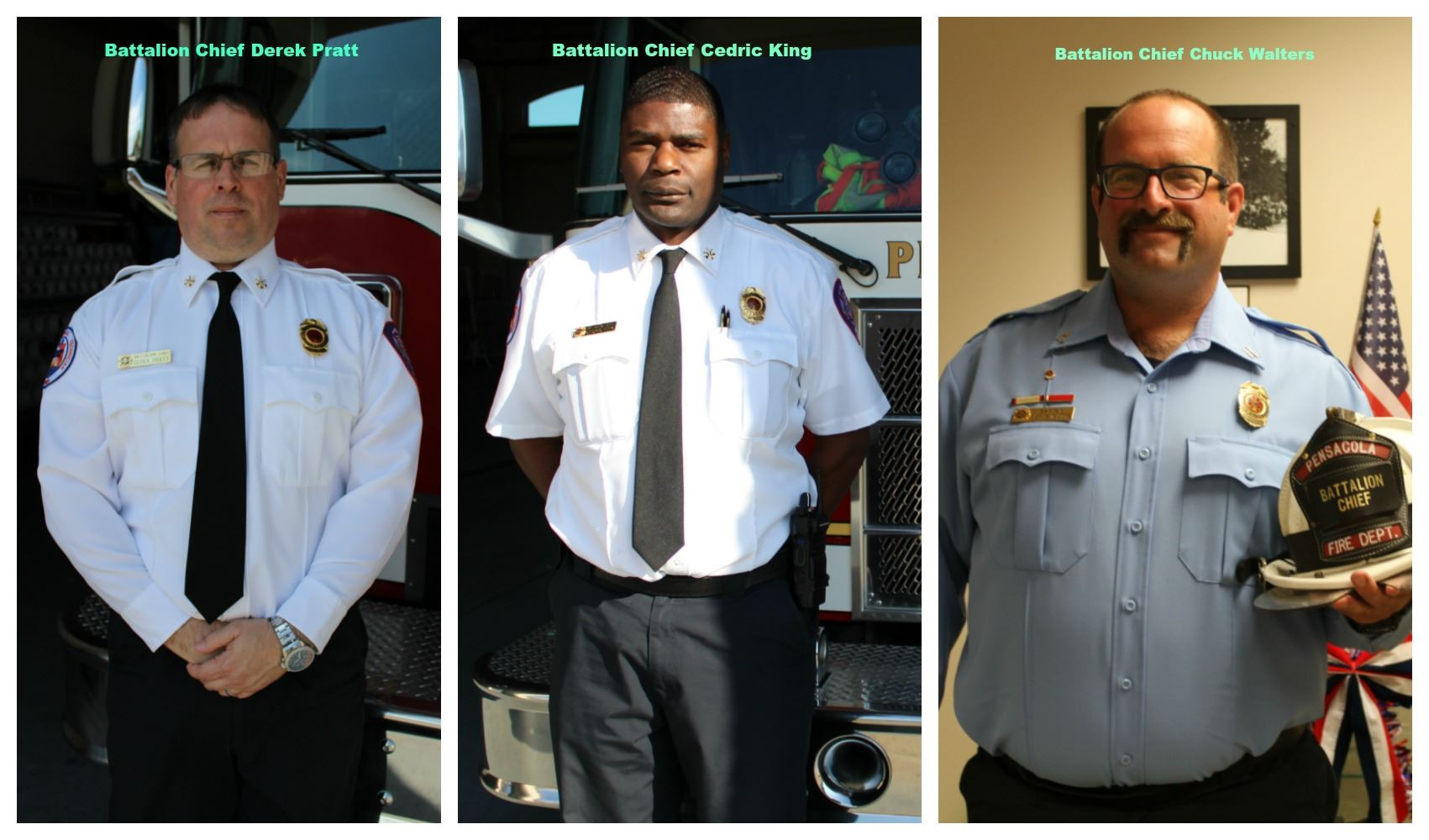 Battalion Chief Derek Pratt, Battalion Chief Cedric King and Battalion Chief Chuck Walters