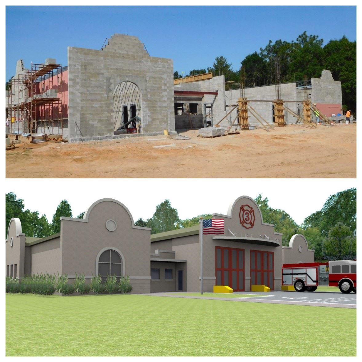 Photo of progress of Fire Station 3 project