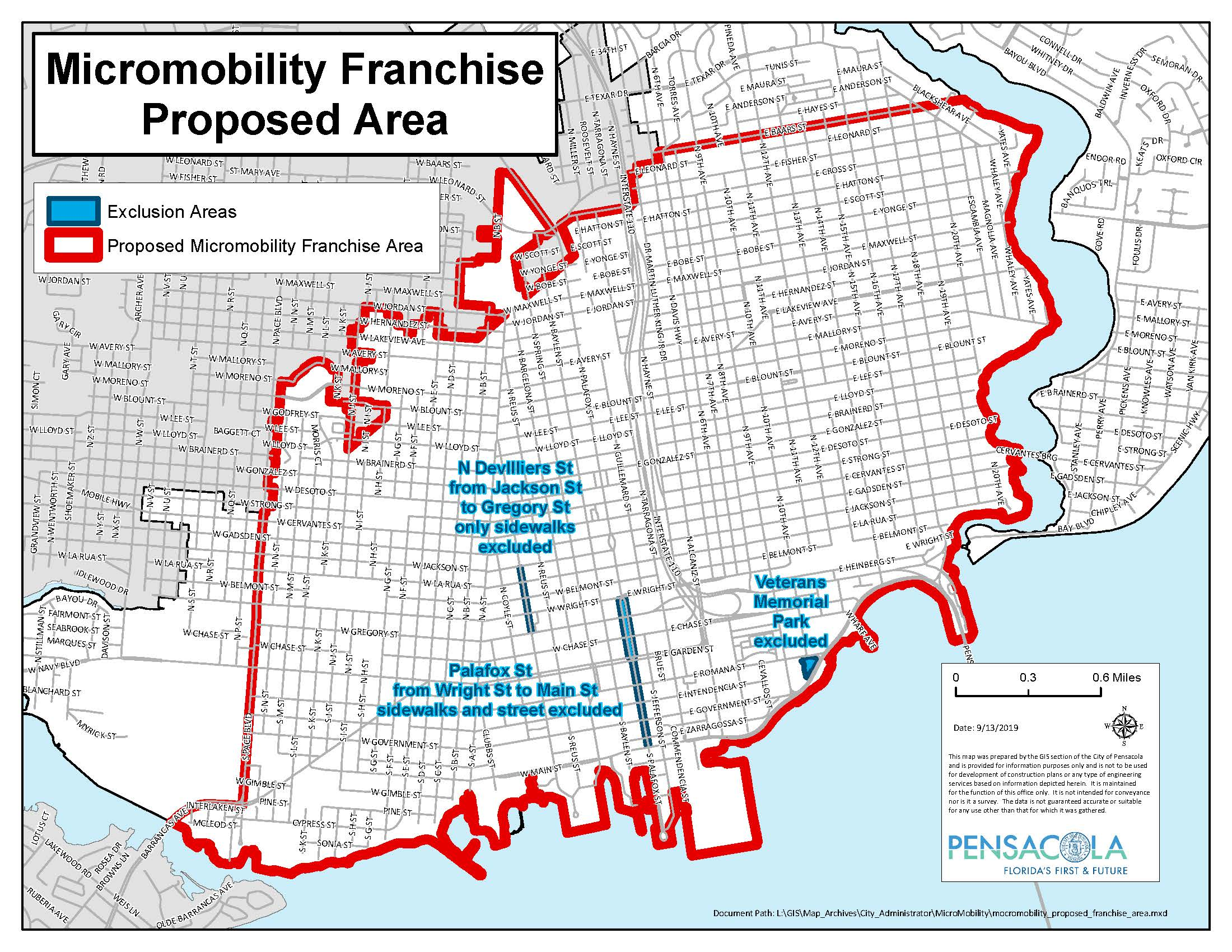 Micromobility Franchise Proposed Area map