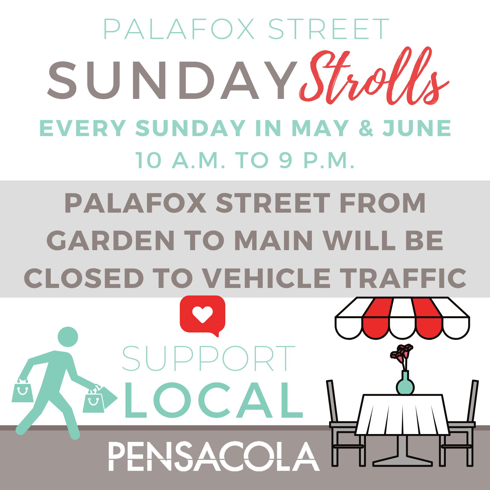 "A section of Palafox Street in downtown Pensacola will be closed to vehicle traffic for ""Sunday S"