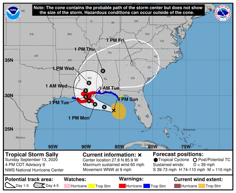 Tropical Storm Sally track map