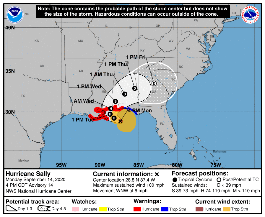 Hurricane Sally forecast track map