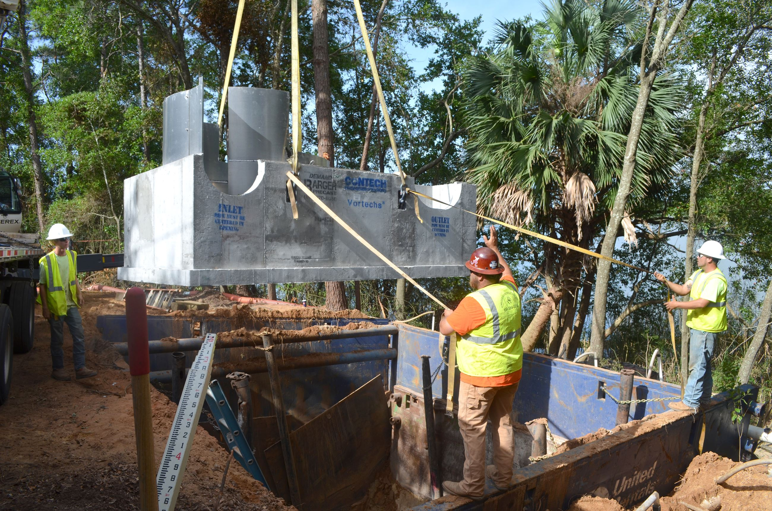 Stormwater treatment unit being installed