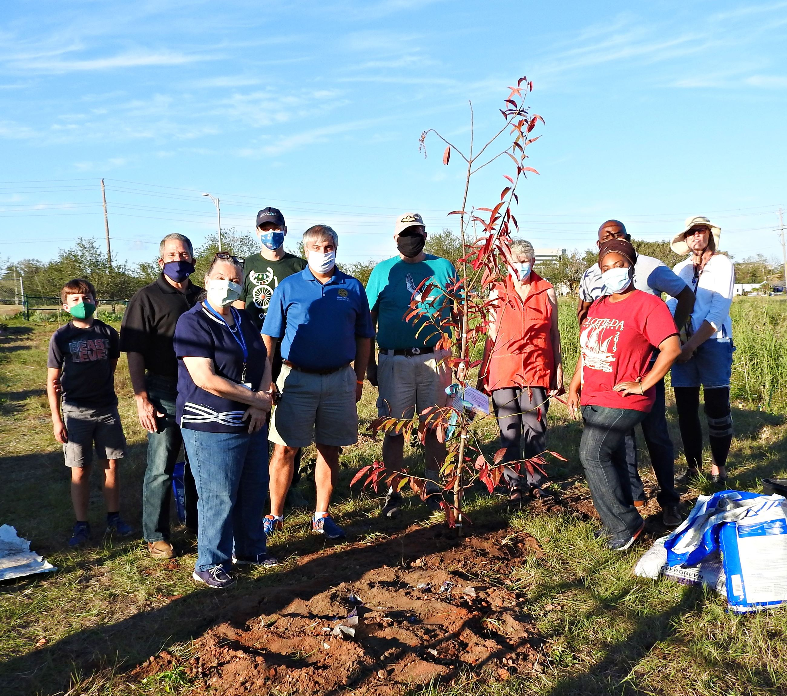 Volunteers at Bruce Beach tree planting