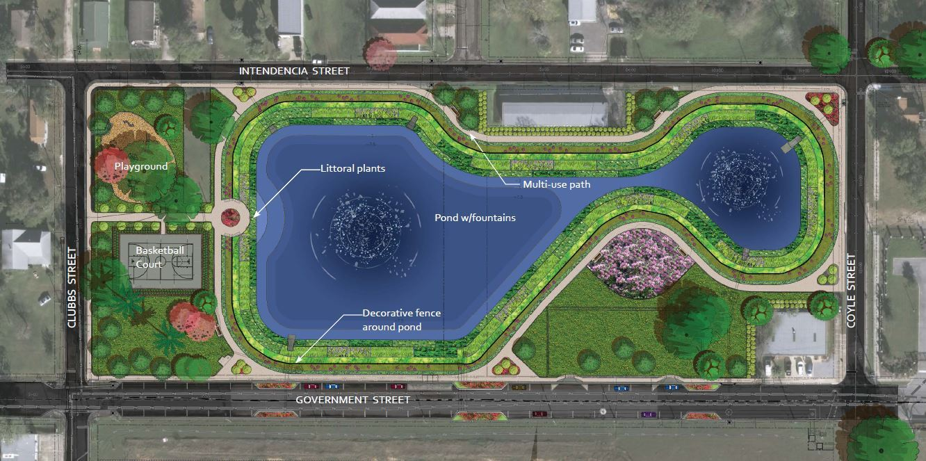 Government Street Pond Rendering