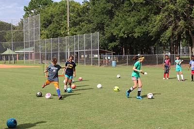 Kids participating in Soccer Camp