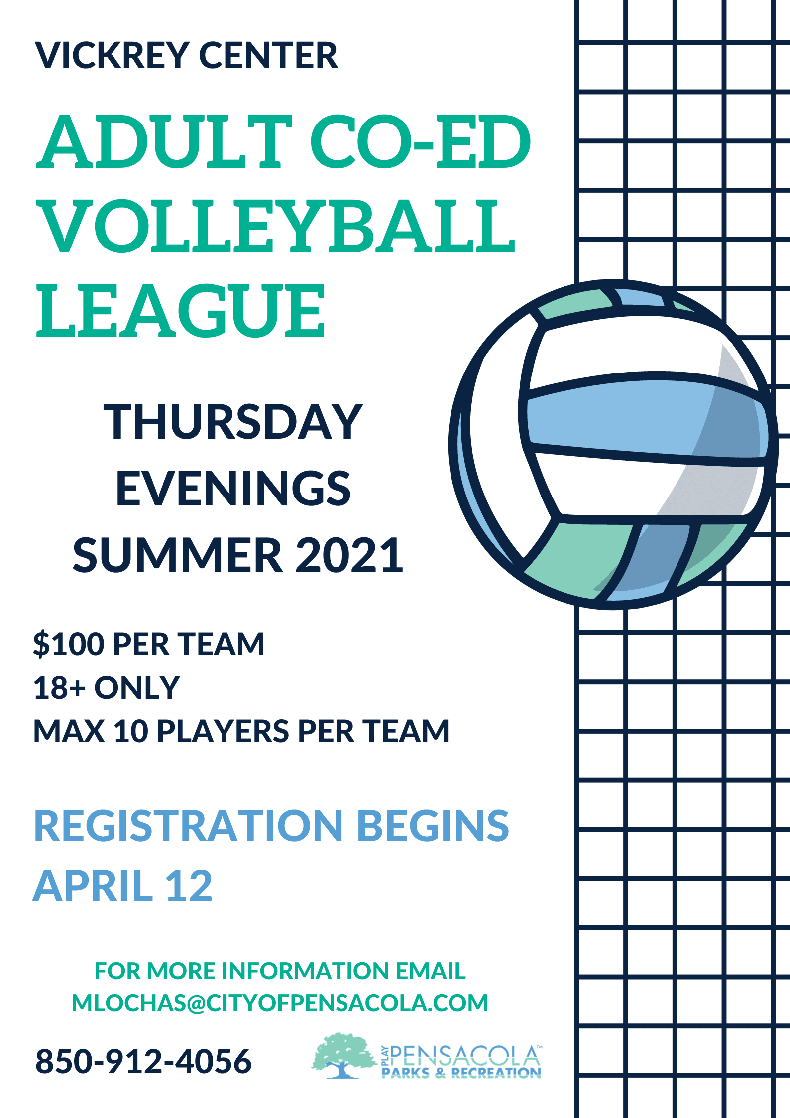 Vickrey Adult Co-Ed Volleyball Flyer