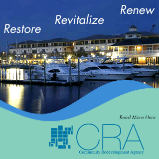 Banner of CRA with Marina in the Background